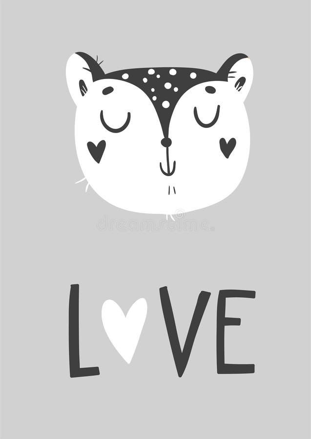 Śliczna karta z dzikim kotem Monochromatyczny kartka z pozdrowieniami ilustracja wektor