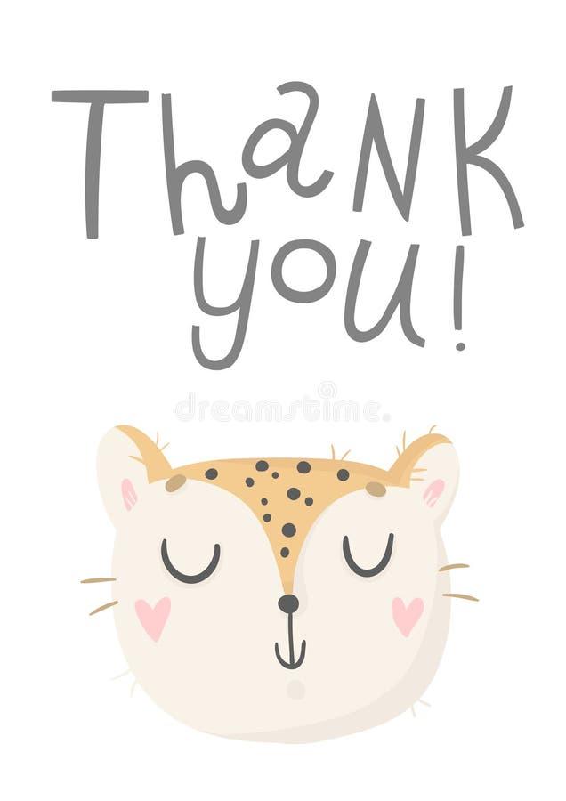Śliczna karta z dzikim kotem Monochromatyczny kartka z pozdrowieniami ilustracji
