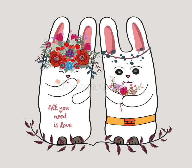 Śliczna karta z uroczym królikiem para królik w wianku kwiaty ilustracja wektor