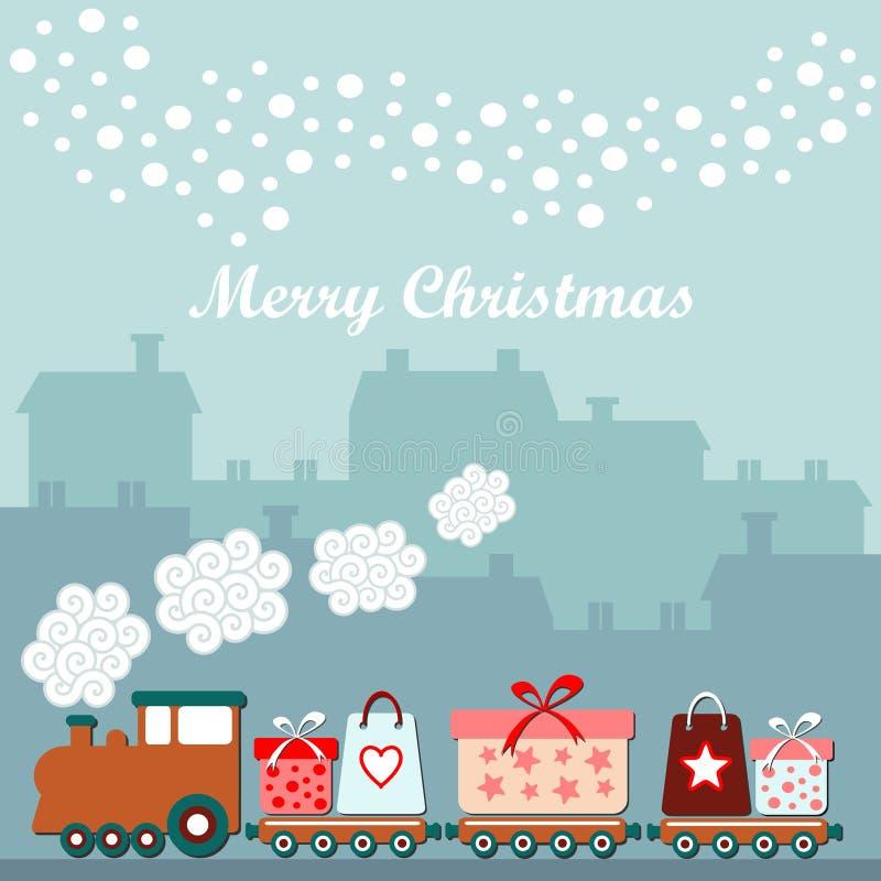 Śliczna kartka bożonarodzeniowa z pociągiem, prezenty, zima domy, spada płatki śniegu, ilustracyjny tło royalty ilustracja