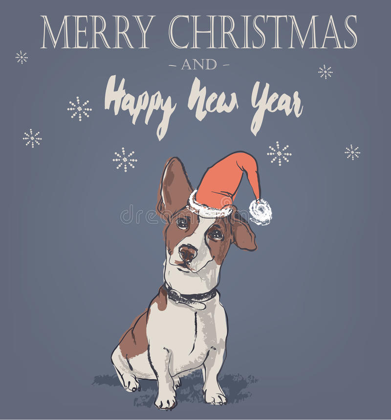 Śliczna kartka bożonarodzeniowa z psem ilustracji