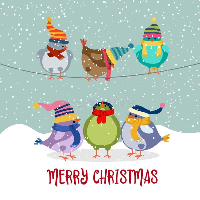 Śliczna kartka bożonarodzeniowa Z ptakami ilustracja wektor