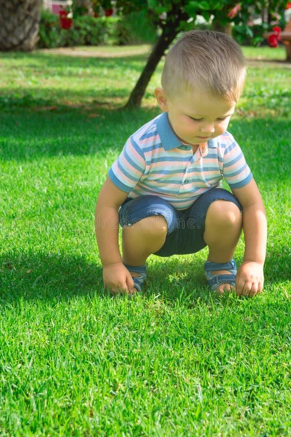 Śliczna Kaukaska Blond chłopiec z niebieskie oko berbeciem 2 lat Siedzi na Haunches na Zielonej trawie obraz stock