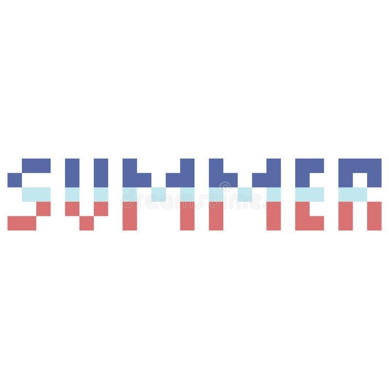 Śliczna 8 kawałków lata typografia Piksel klamerki nautyczna sztuka ilustracja wektor