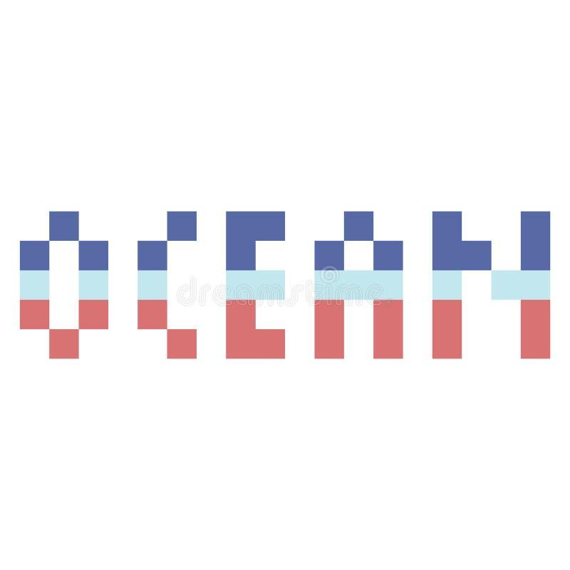 Śliczna 8 kawałków oceanu typografia Piksel klamerki nautyczna sztuka ilustracji
