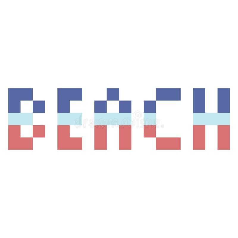 Śliczna 8 kawałków plażowa typografia Piksel klamerki nautyczna sztuka royalty ilustracja