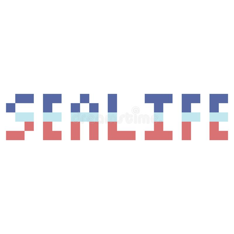 Śliczna 8 kawałków sealife typografia Piksel klamerki nautyczna sztuka royalty ilustracja