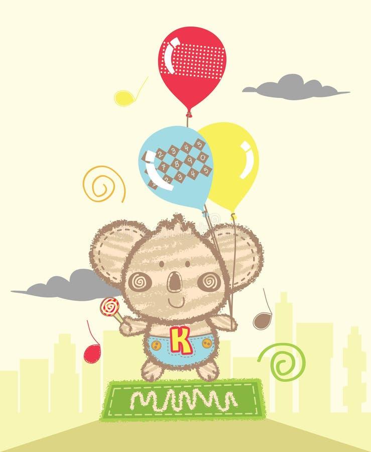 Śliczna koala Bawić się balony royalty ilustracja