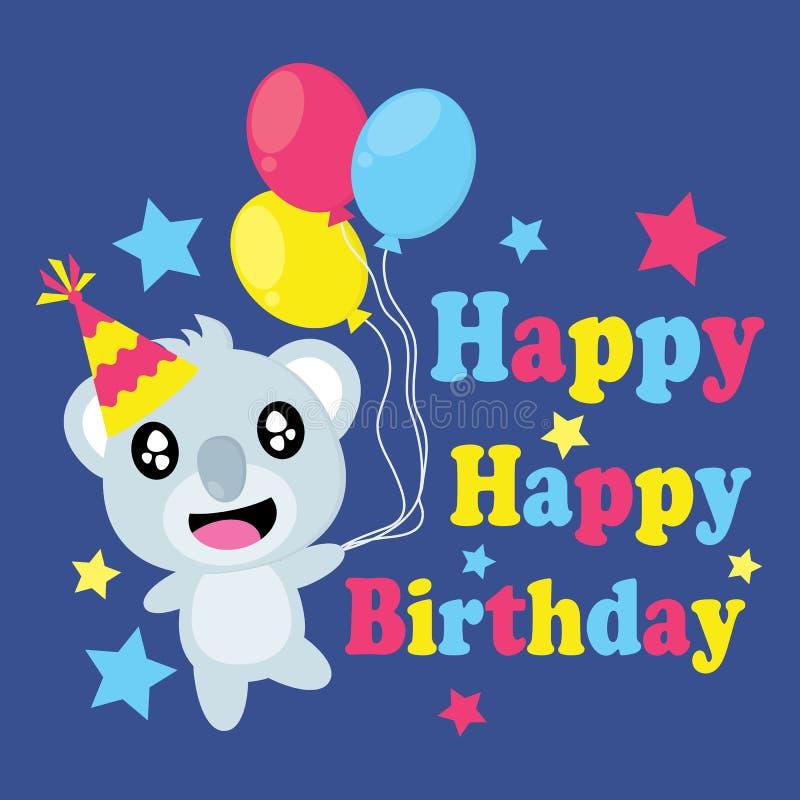 Śliczna koala przynosi kolorowym balonom wektorową kreskówkę, Urodzinową pocztówkę, tapetę i kartka z pozdrowieniami, ilustracji