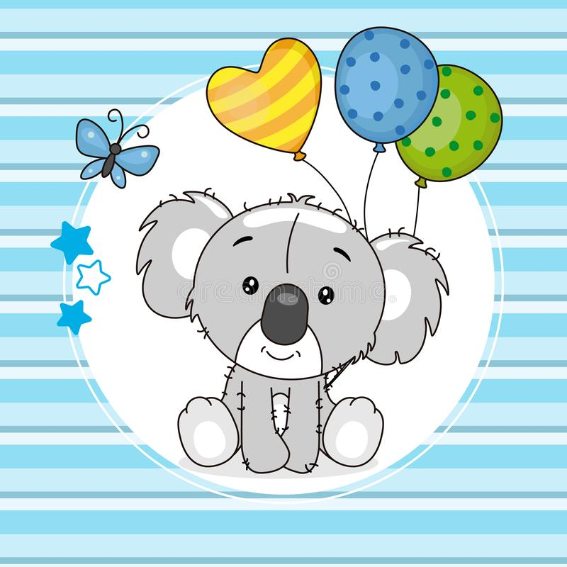 Śliczna koala z balonami ilustracji