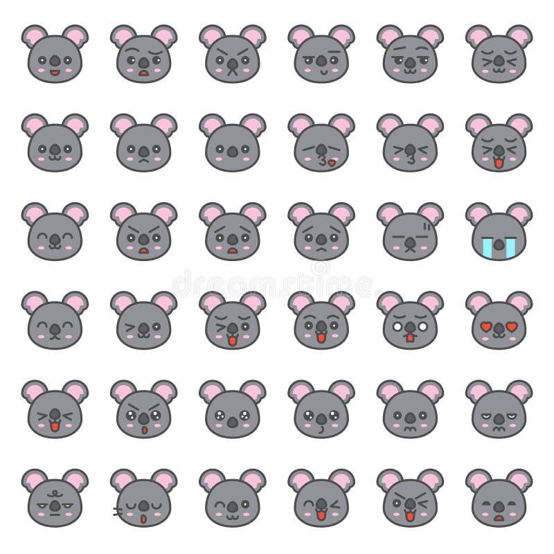 Śliczna koali emocji twarz w różnorodnym expession, editable kreskowa ikona royalty ilustracja