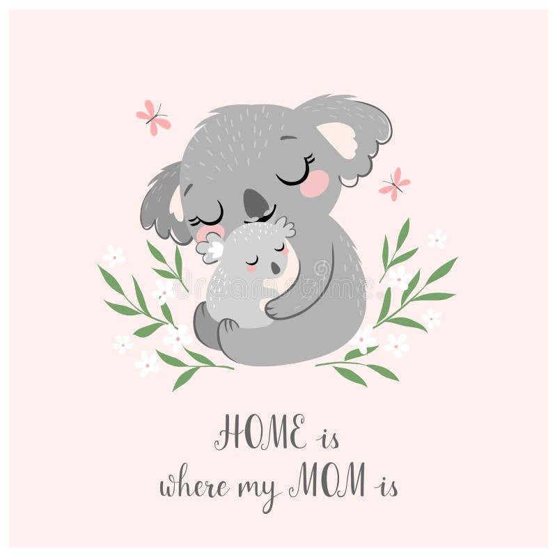 Śliczna koali mama, dziecko i ilustracji