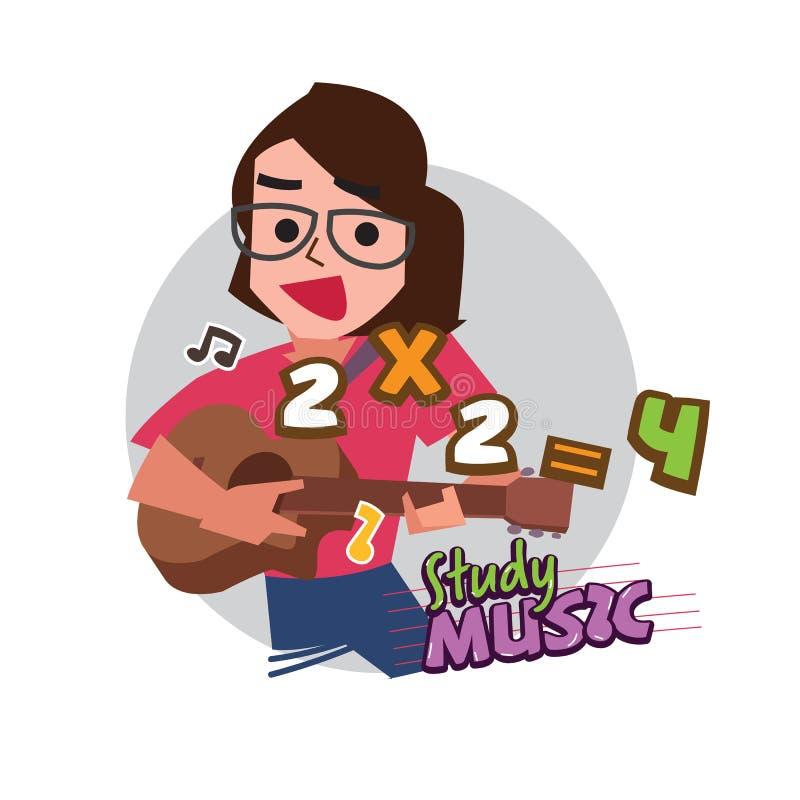 Śliczna kobieta lub nauczyciel bawić się gitarę z piosenką dla uczyć się matematykę studey muzyka dla uczyć się pojęcie logotyp,  royalty ilustracja