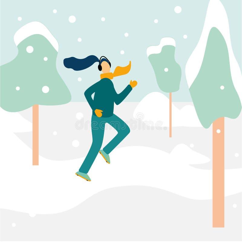Śliczna kobieta w zimy przekładni biegać outside w śnieżystym parku również zwrócić corel ilustracji wektora Dziewczyny zimy dzia ilustracja wektor
