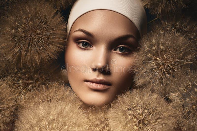 Download Śliczna Kobieta Z Dandelions Wokoło Twarzy Zdjęcie Stock - Obraz złożonej z ampuła, piłka: 53791284