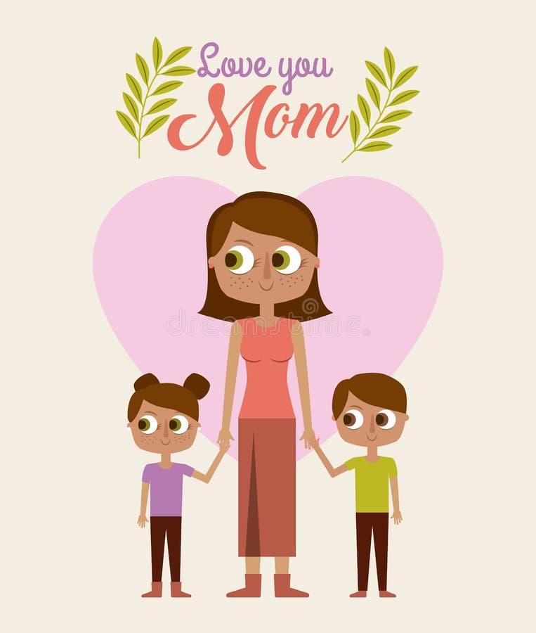Śliczna kobiety mienia childs miłość ty mama royalty ilustracja