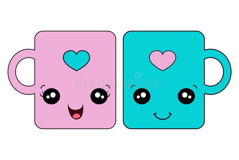 Śliczna kochanków kubków para ilustracji