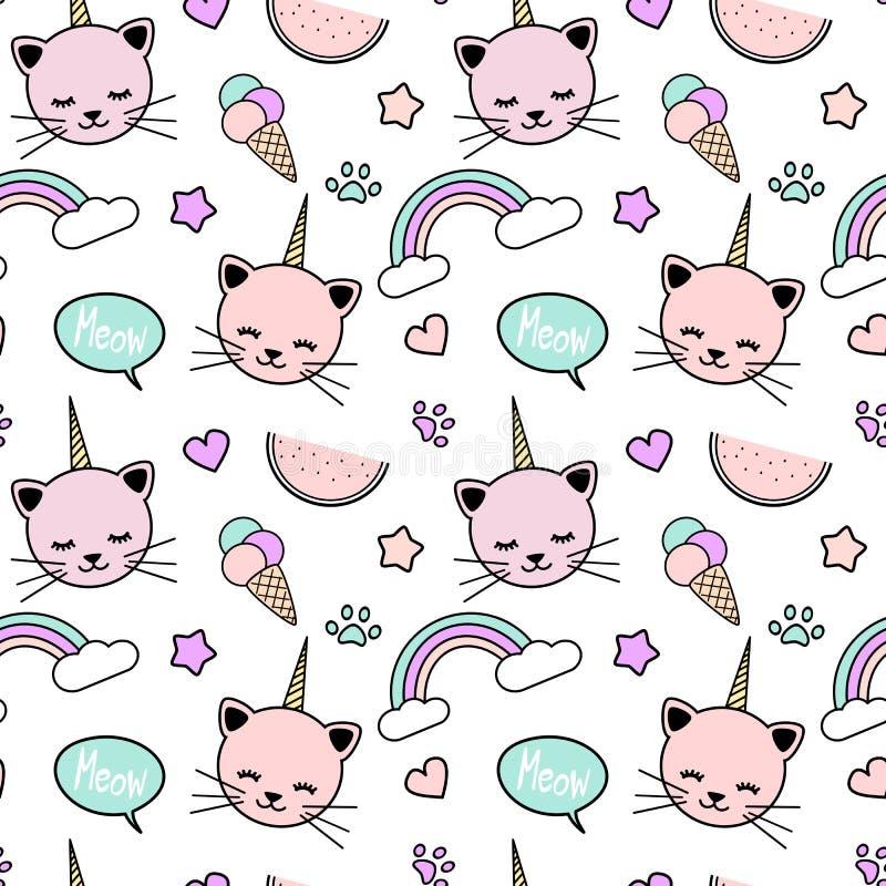 Śliczna kolorowa bezszwowa deseniowa tło ilustracja z jednorożec kotami, tęcza, mowa bąbel, lody, gwiazdy, serca ilustracja wektor