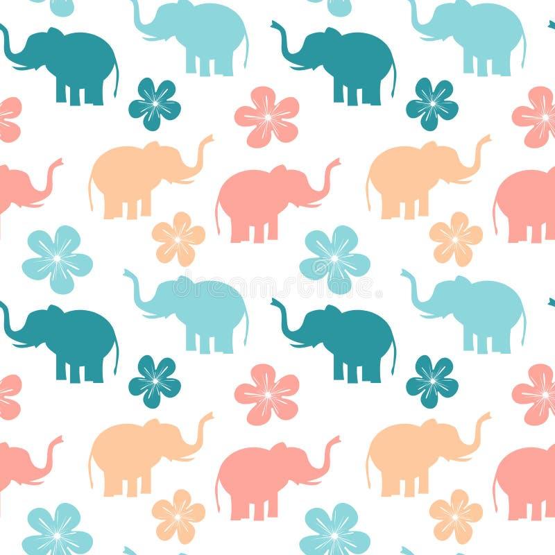 Śliczna kolorowa bezszwowa deseniowa tło ilustracja z słoniami i kwiatami royalty ilustracja