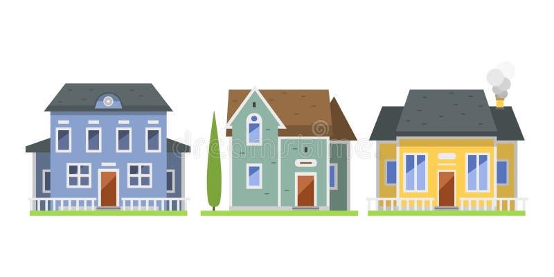Śliczna kolorowa mieszkanie stylu domu wioski symbolu nieruchomości chałupa i dom projektujemy mieszkaniowego kolorowego budynek ilustracja wektor
