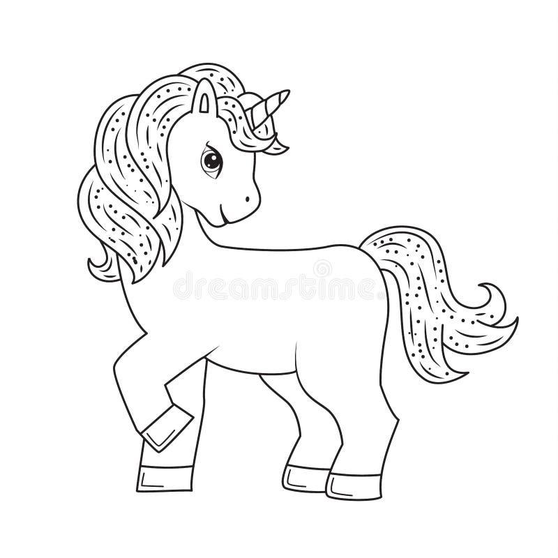 Śliczna konturu doodle jednorożec R?ka rysuj?cy elementy royalty ilustracja