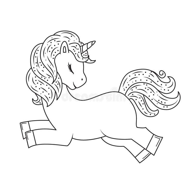Śliczna konturu doodle jednorożec skacze R?ka rysuj?cy elementy royalty ilustracja