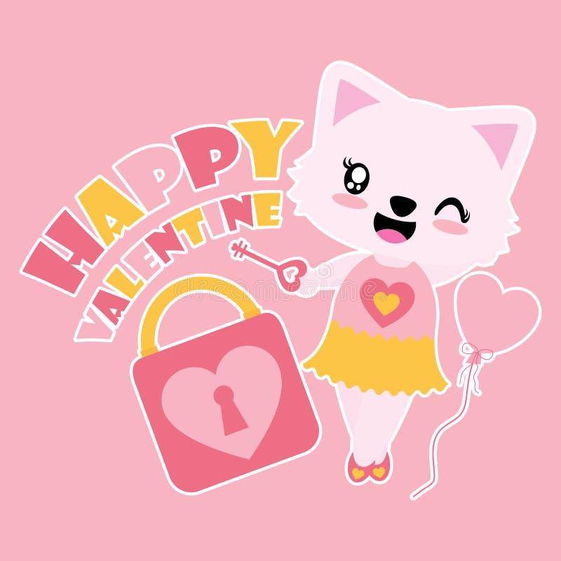 Śliczna kot dziewczyna z miłości kłódki i klucz kreskówki wektorową ilustracją dla Szczęśliwej walentynki karcianego projekta royalty ilustracja