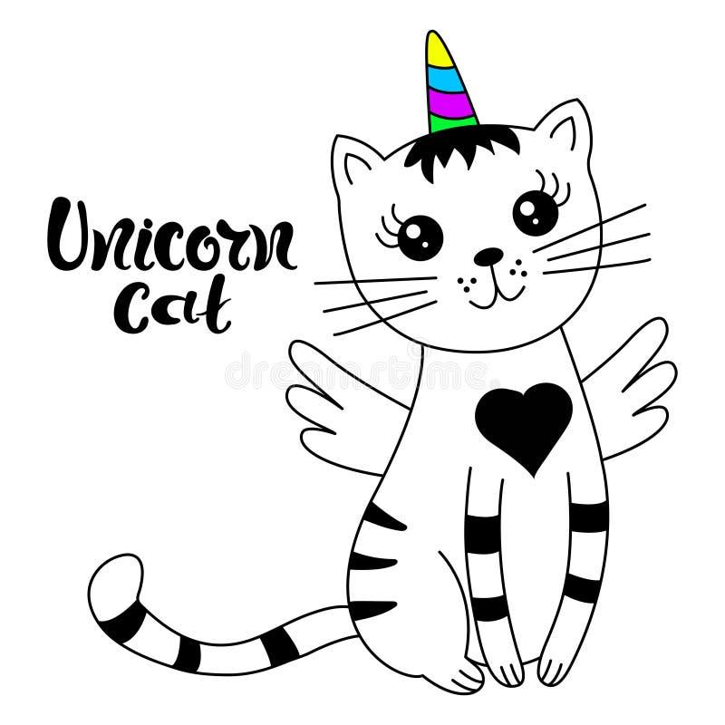 Śliczna kot jednorożec, doodle ilustracja dla dzieciaków ilustracji