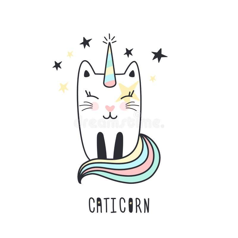 Śliczna kot jednorożec ręka rysująca royalty ilustracja