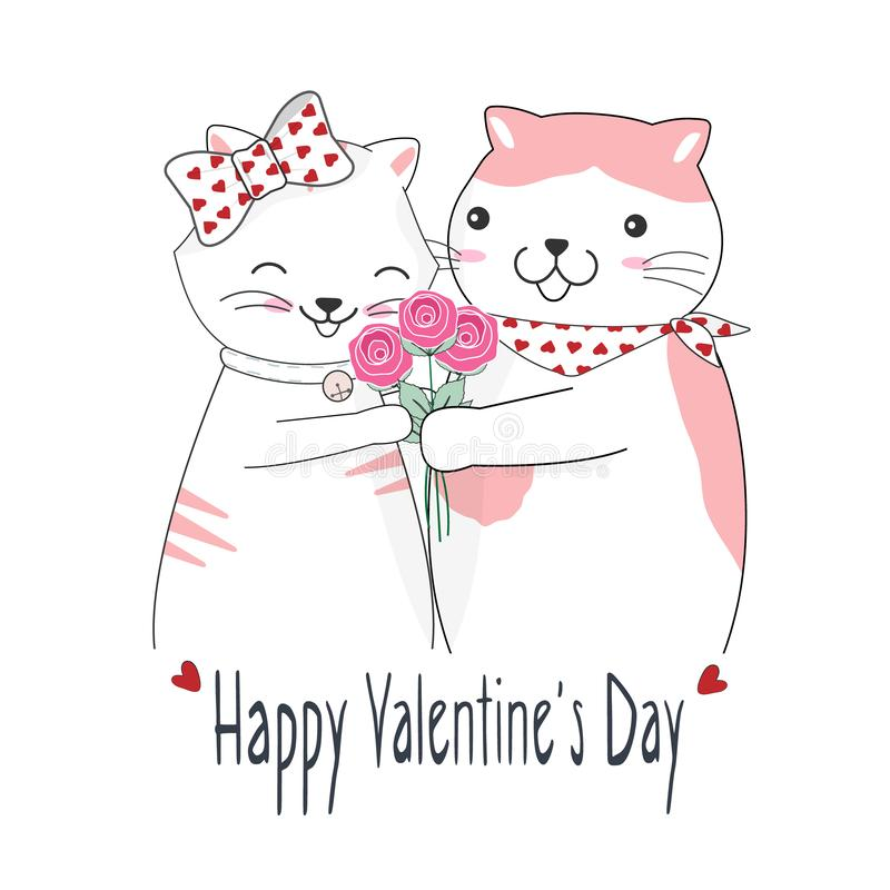Śliczna kot para i różany bukiet, Szczęśliwa walentynka dnia kartka z pozdrowieniami ilustracji