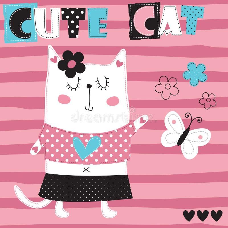 Śliczna kota i motyla wektoru ilustracja ilustracji