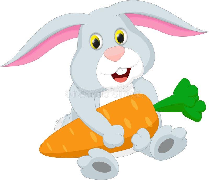 Śliczna królik kreskówki mienia marchewka ilustracji