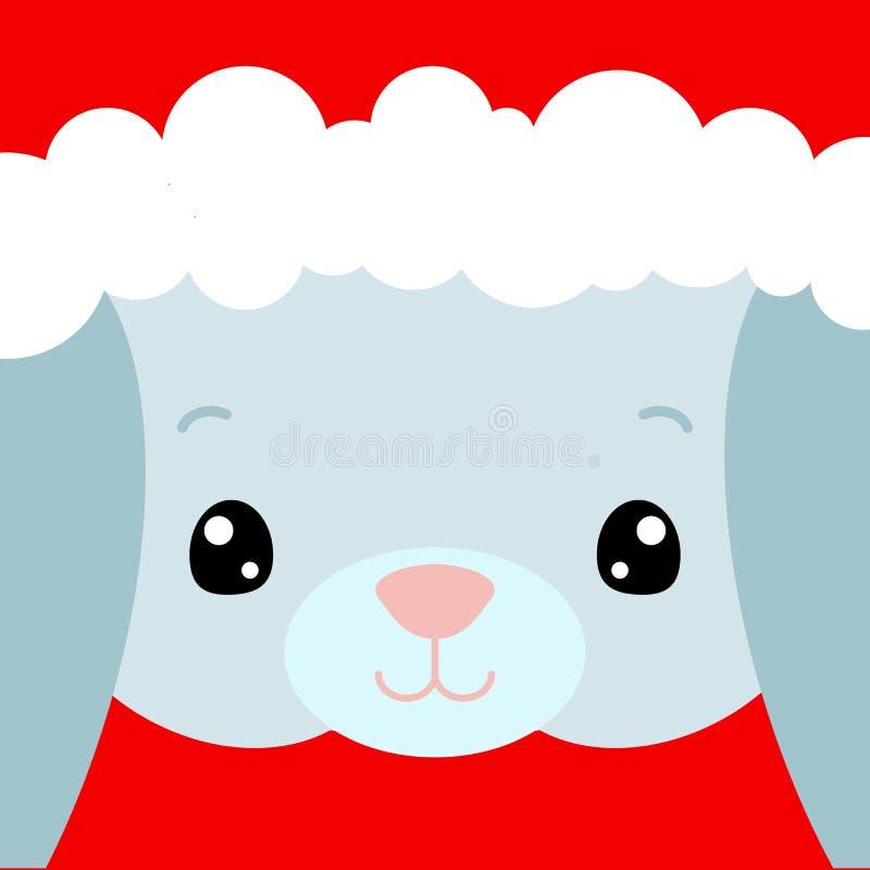 Śliczna królik twarzy kwadrata karta Święty Mikołaj kapelusz na królika wektoru ilustracji Nowego Roku kwadratowy sztandar z uśmi ilustracji