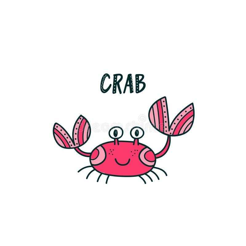 Śliczna krab ilustracja ilustracji