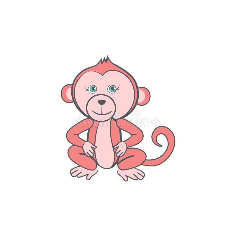 Śliczna kreskówek menchii małpa, dzikiego dzieciaka zwierzęca wektorowa śmieszna ilustracja odizolowywająca na białym tle, dekora ilustracja wektor
