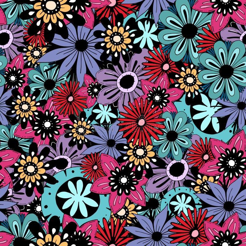 Śliczna kreskówka barwił bezszwowego wielostrzałowego wektoru wzór z kwiatami ilustracja wektor
