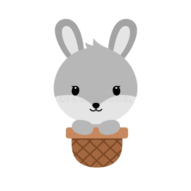 Śliczna kreskówka bunnysitting w Easter koszu, śmieszny królika charakter Szczęśliwa Wielkanocna pojęcie kreskówki wektoru ilustr ilustracji