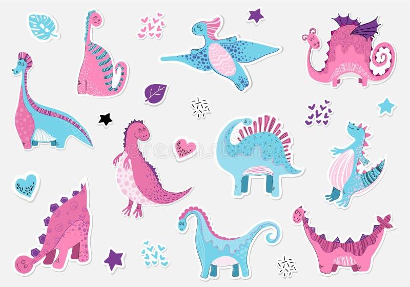 Śliczna kreskówka Dino - wektorowi majchery ustawiający ilustracja wektor