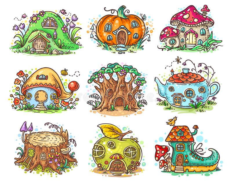 Śliczna kreskówka elven, czarodziejki lub gnomu w postaci bani domy, drzewo, teapot, but, jabłko, pieczarka, fiszorek ilustracji
