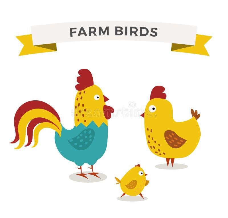 Śliczna kreskówka kurczaka matka i chuk żartujemy wektor ilustracja wektor