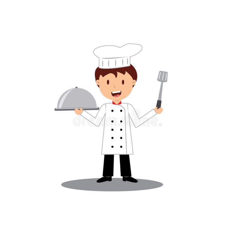 Śliczna kreskówka mały szefa kuchni kucharstwo przy kuchnią ilustracji