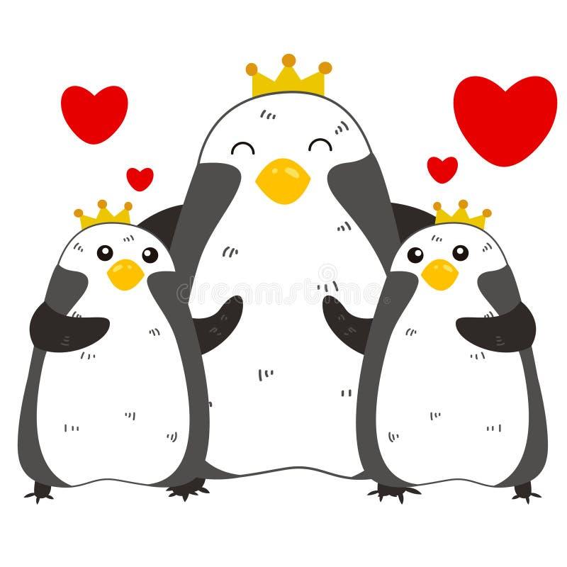 Śliczna pingwin rodzina ilustracji