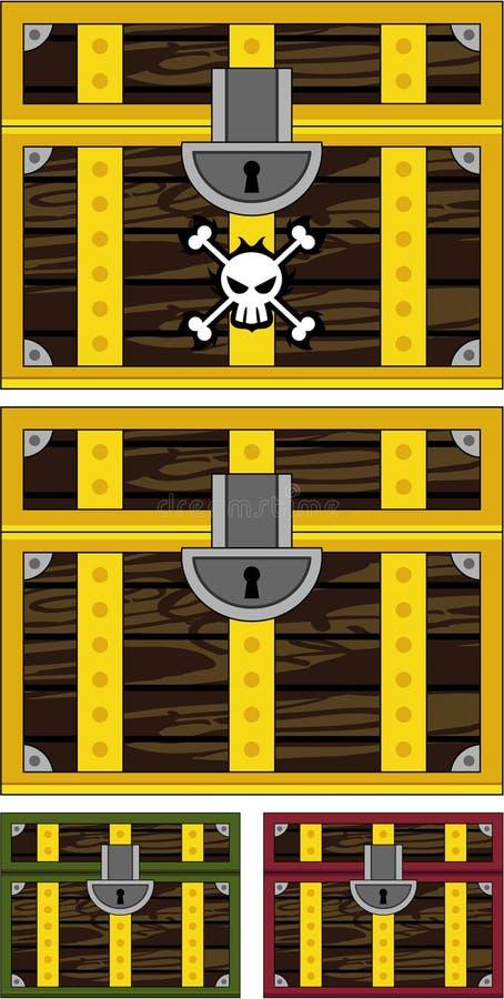 Śliczna kreskówka pirata skarbu klatka piersiowa royalty ilustracja