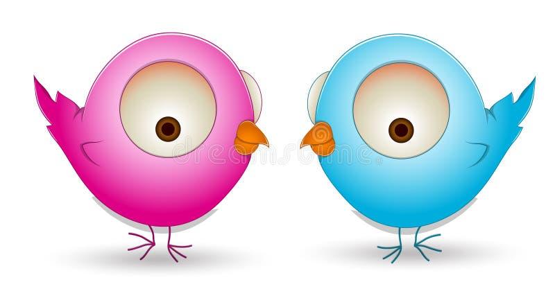 Śliczna kreskówka ptaków para ilustracji