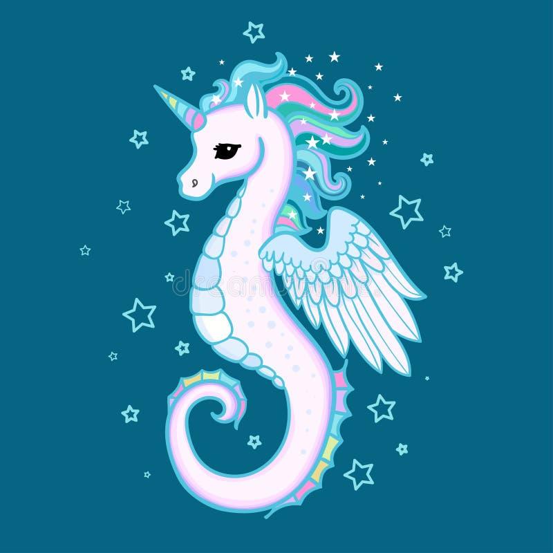 Śliczna kreskówka, tęczy seahorse jednorożec wektor royalty ilustracja