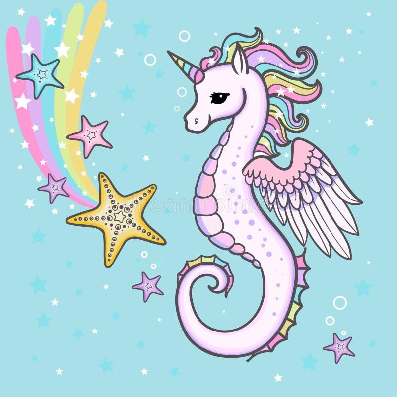 Śliczna kreskówka, tęczy seahorse jednorożec z rozgwiazdą wektor ilustracji