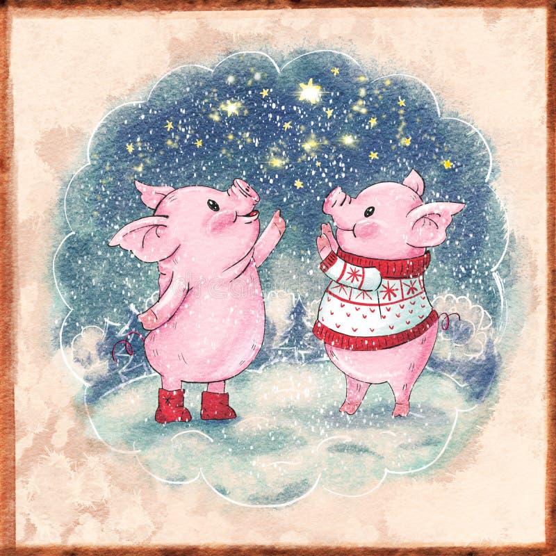 śliczna kreskówki świnia ilustracji