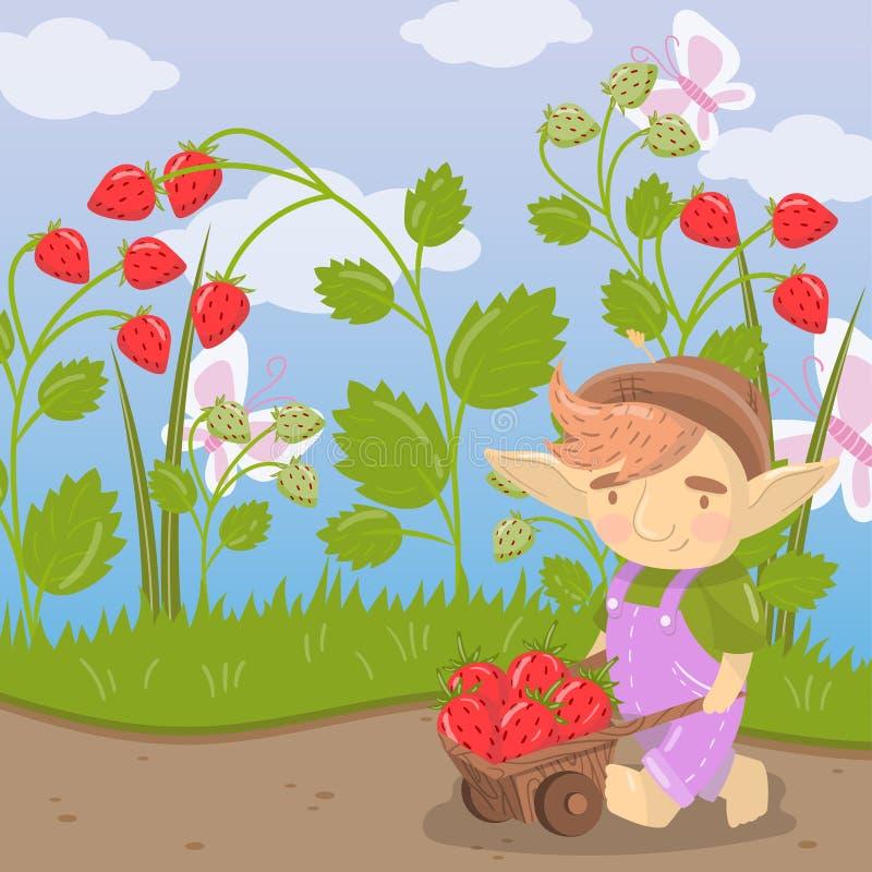 Śliczna kreskówki błyszczka z średniorolną drewnianą furą pełno truskawki, zielona lato krajobrazu wektoru ilustracja ilustracja wektor
