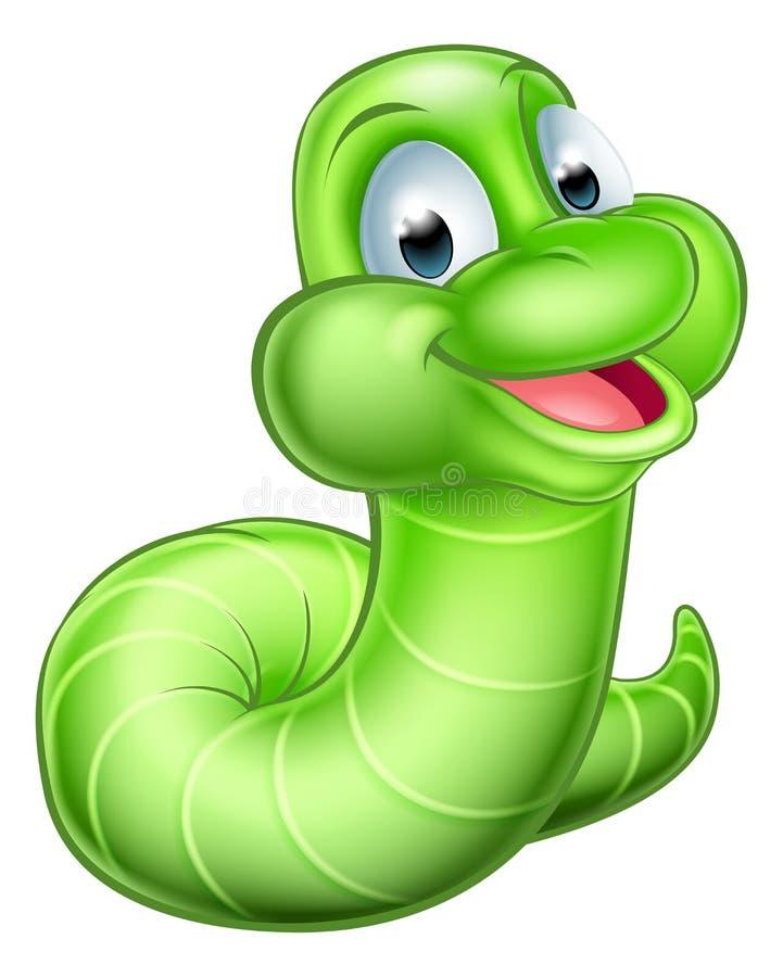 Śliczna kreskówki Caterpillar dżdżownica ilustracja wektor