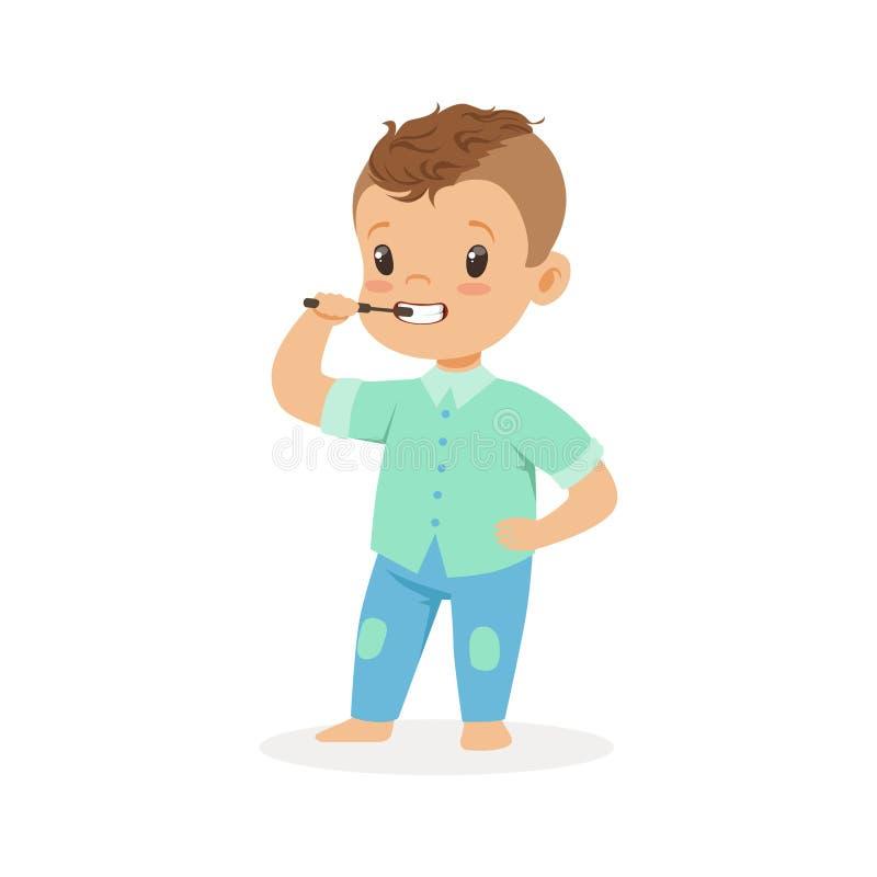 Śliczna kreskówki chłopiec szczotkuje jego zęby, dzieciak stomatologicznej opieki wektoru ilustracja royalty ilustracja